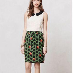 Anthropologie Maeve Heartstamp Pencil Skirt  Sz 2